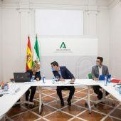 El presidente de la Junta de Andalucía, Juanma Moreno durante la reunión del Comité de Expertos de la pandemia del COVID-19