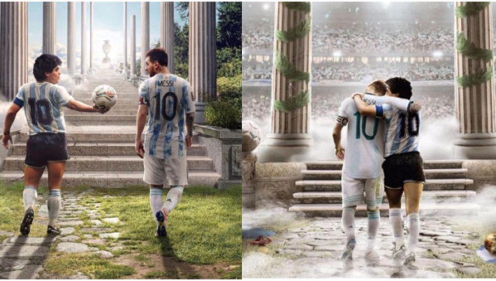 Imagen de Maradona y Messi en el cielo, representando la felicitación entre los dos mejores jugadores argentinos de todos los tiempos.