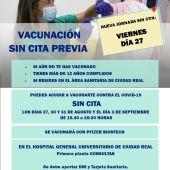El viernes también habrá vacunación sin cita en el Hospital de Ciudad Real