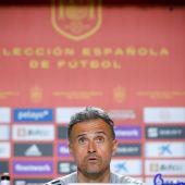 El entrenador de la Selección Española, Luis Enrique, en una rueda de prensa