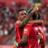 l centrocampista del Mallorca Dani Rodríguez celebra su gol ante el Espanyol