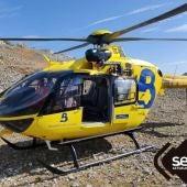 El helicóptero durante la intervención