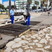Operarios realizan labores de arreglo en Puntales