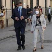 El presidente de la Generalitat Valenciana, Ximo Puig, con la vicepresidenta primera del Gobierno, Nadia Calviño.