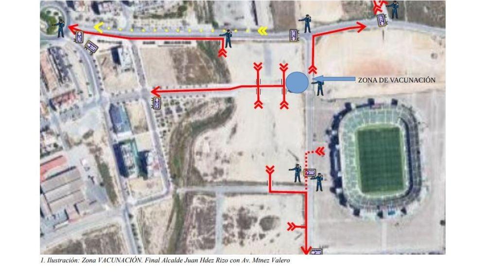 Lugar donde los aficionados podrán vacunarse antes del partido Elche-Levante.