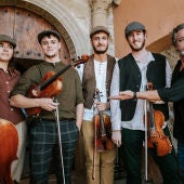 La formación aragonesa Muro Kvartet y el coordinador de En Clave de Aragón, Arturo Gastón