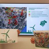 Mapa de los proyectos eólicos planteados en la provincia
