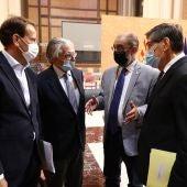 Representantes de Candanchú con el presidente Labán y el vicepresidente, Arturo Aliaga