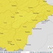 Mapa de la Agencia Estatal de Meteorología con las alertas meteorológicas activadas este lunes.