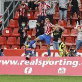 Gaspar Campos celebra el 2-1 frente al Málaga.