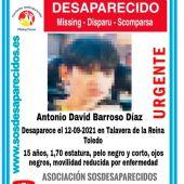 Antonio David Barroso Díaz, el menor de Morón de la Frontera desaparecido