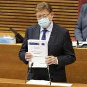 El president de la Generalitat Valenciana, Ximo Puig, en Les Corts.