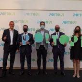 El Alcalde de Palma,  José Hila, junto a algunos de los responsables de Porto Pi, en la presentación de su nueva imagen tras una transformación integral de más de 30 millones de euros.