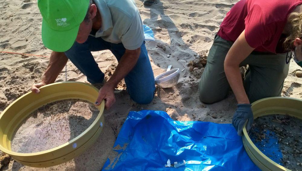 Los microplásticos aparecen en el cribado de la arena