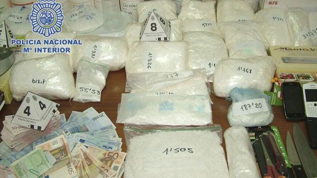 Alijo de droga incautada por la Policía Nacional.