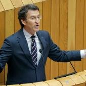 Alberto Núñez Feijóo, durante su intervención en el Parlamento gallego.