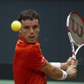 Roberto Bautista, en el primer partido por la permanencia en la élite de la Copa Davis