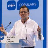 Mariano Rajoy en un mitín en Baleares
