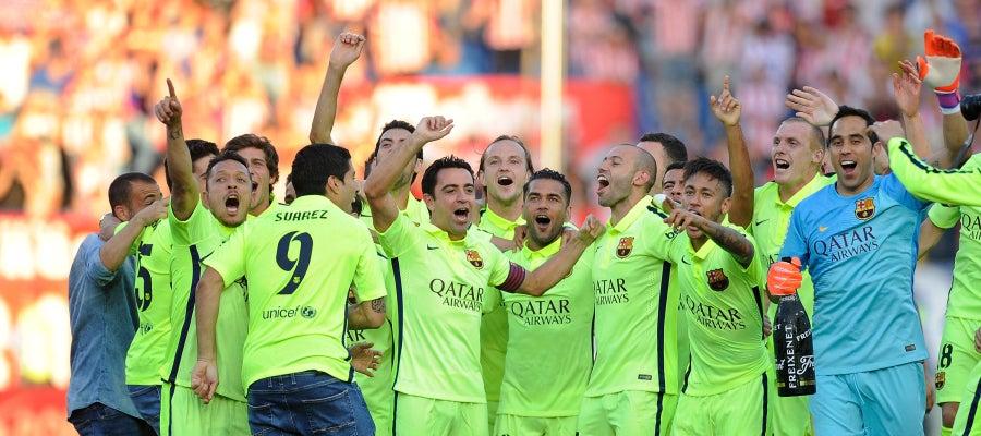 El Barcelona celebra la consecución del título de Liga