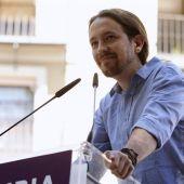 """El secretario general de Podemos, Pablo Iglesias, en su intervención en el acto """"Somos Región"""""""