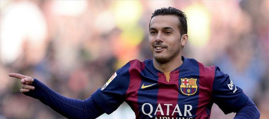 Pedro, celebrando un gol del Barça