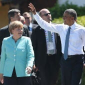 Merkel y Obama durante la cumbre del G7