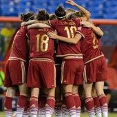 La Selección española de fútbol femenino celebran su primer gol en el Mundial