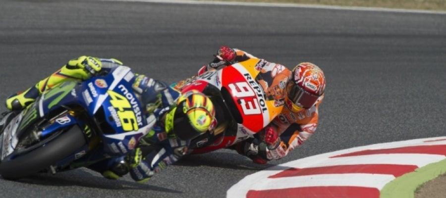 Valentino Rossi y Marc Márquez en Montmeló