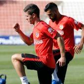 Luciano Vietto en su primer entrenamiento con el Atlético de Madrid
