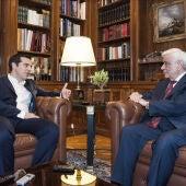 Tsipras y el presidente de la República