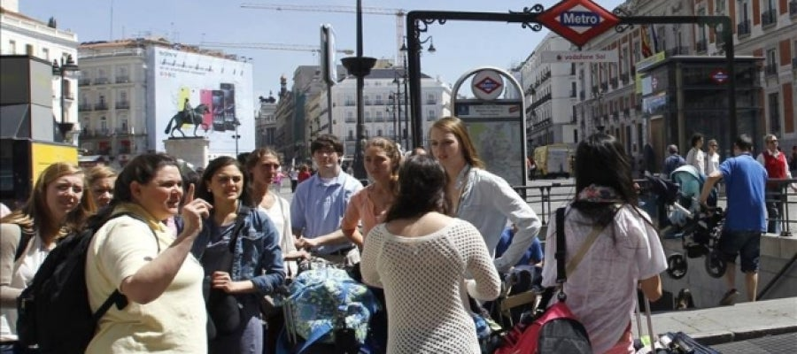 Un grupo de turistas en Madrid