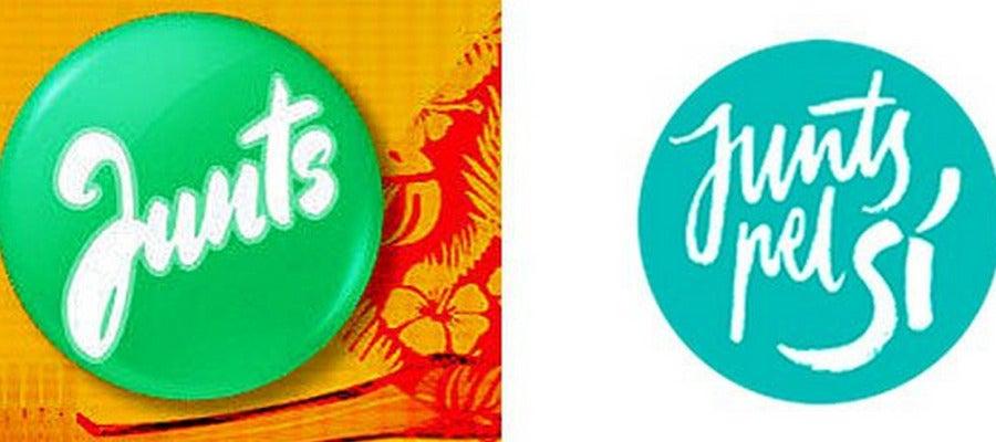 El nuevo logo de verano de TV3 (izquierda) junto al de la candidatura independentista.
