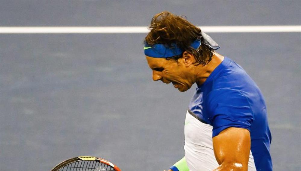 Rafa Nadal celebra su victoria ante Chardy