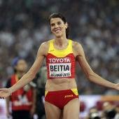 Ruth Beitia, durante la prueba de salto de altura