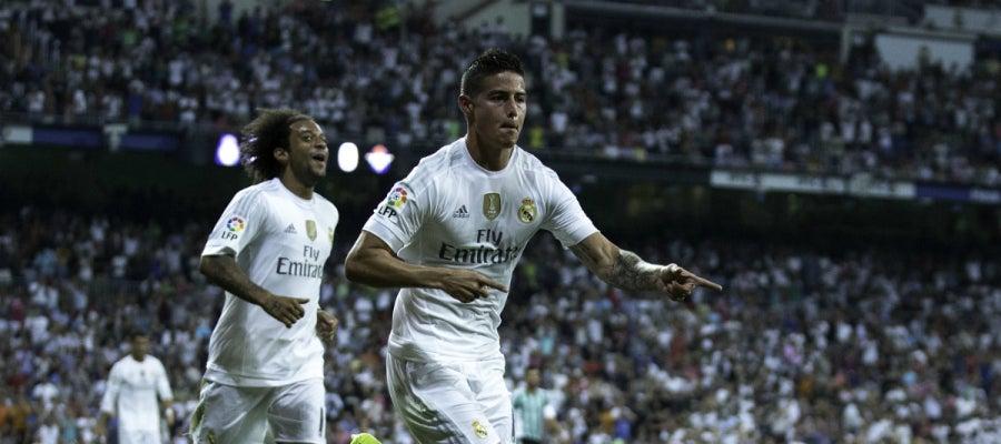 James Rodríguez celebra un gol frente al Betis