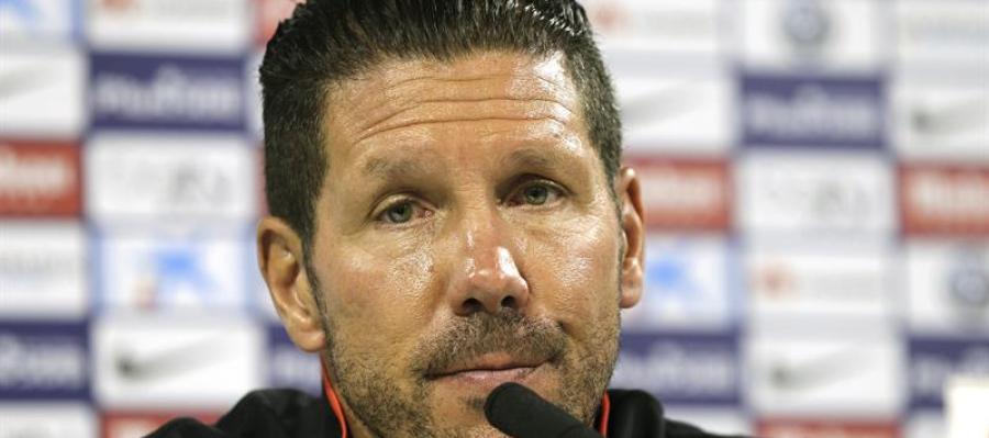 El 'Cholo' Simeone, entrenador del Atlético de Madrid, durante una rueda de prensa