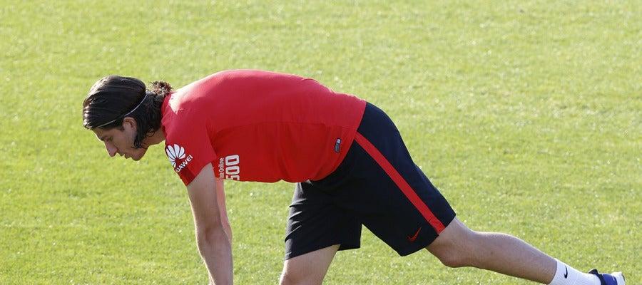 Filipe Luis, durante un entrenamiento con el Atlético de Madrid