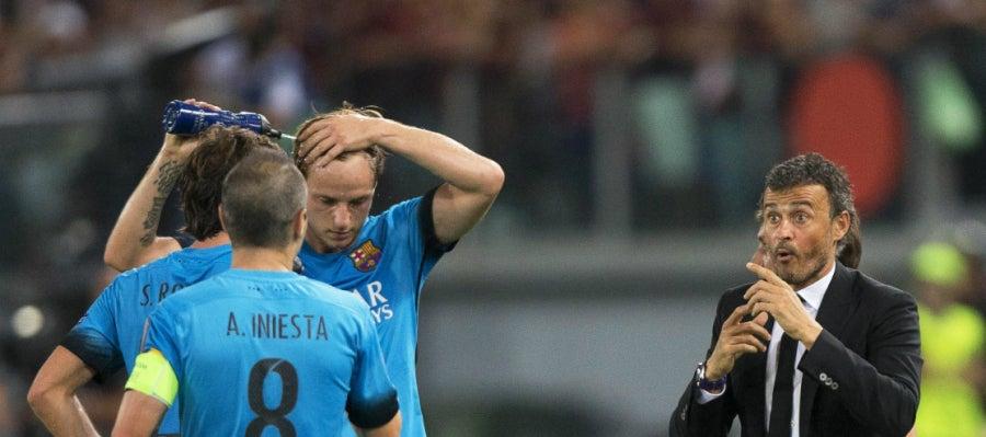 Luis Enrique, durante el partido contra la Roma