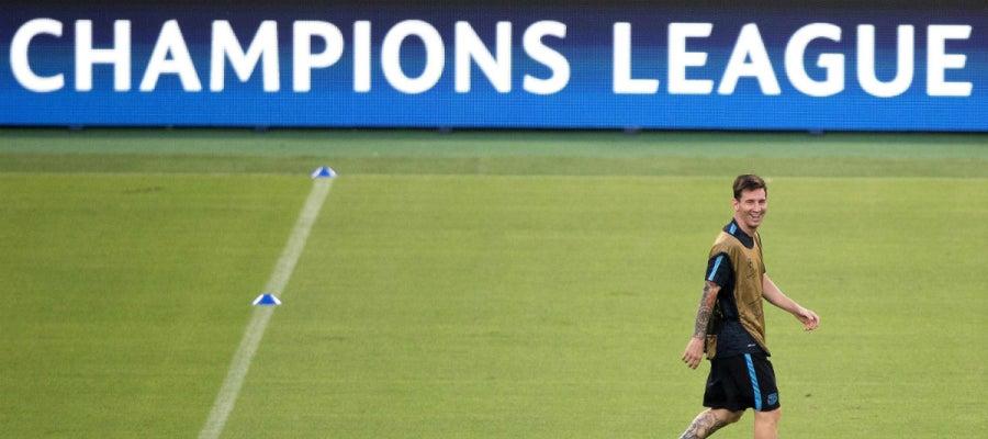 Messi, durante el entrenamiento del Barcelona en Roma