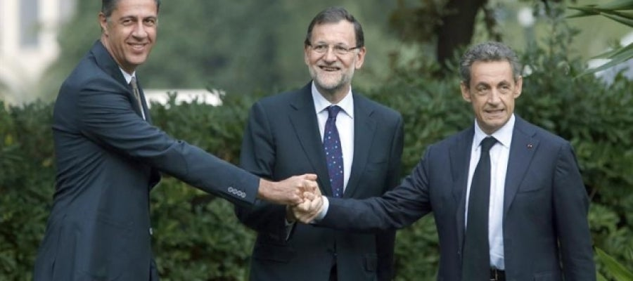 Xavier García Albiol, Mariano Rajoy y Nicolas Sarkozy