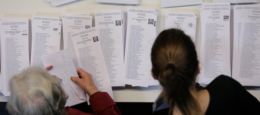 Papeletas de las elecciones a la Generalitat de Cataluña