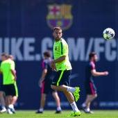 Jordi Alba, durante un entrenamiento con el Barcelona