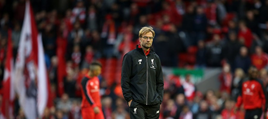Jürgen Klopp, pensativo tras empatar frente al Southampton