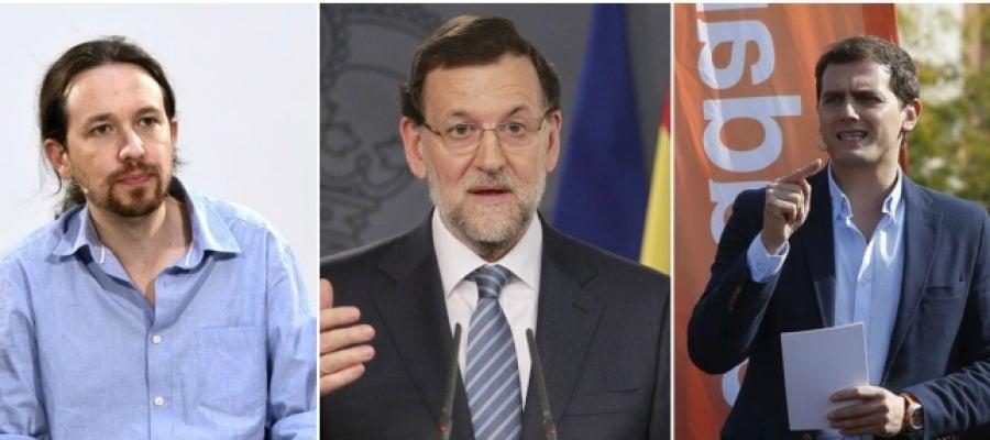 Pablo Iglesias, Mariano Rajoy y Albert Rivera