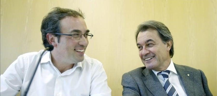 El coordinador general de CDC, Josep Rull, y el presidente del partido, Artur Mas