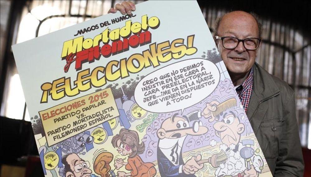 El nuevo comic de Ibáñez, 'Elecciones', en el que Mortadelo y Filemón se codean con figuras del mundo de la política
