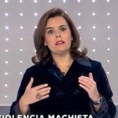 Soraya Sáenz de Santamaría en un momento del debate
