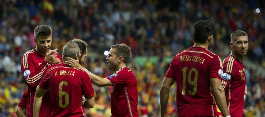 España celebra un gol