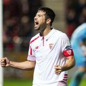 Juan Muñoz celebra su gol ante el Mirandés el día de su debut