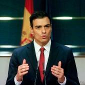 Pedro Sánchez en su comparecencia